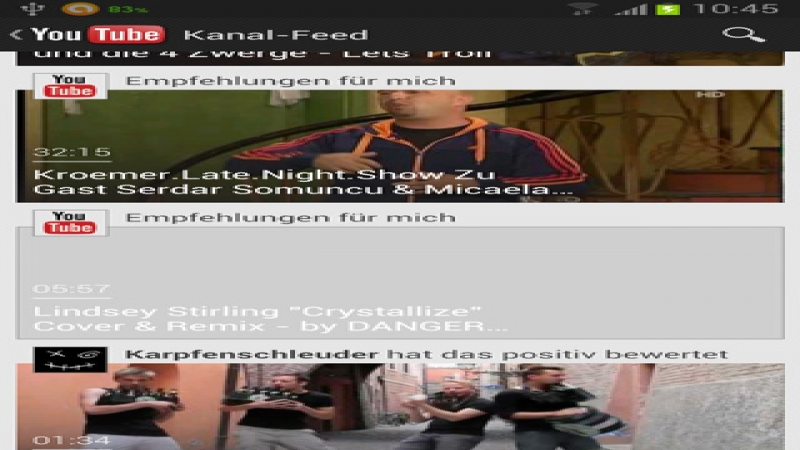 Kanal-Feed in YouTube App filtern