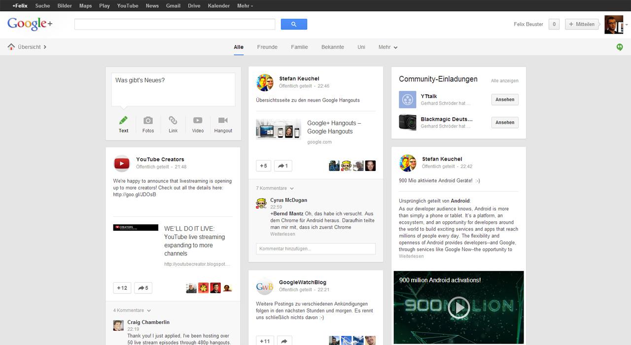Neue Google+ Startseite