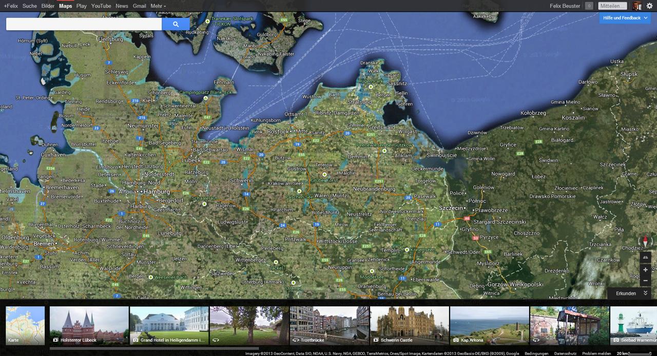 Earth Ansicht mit Fotoleiste