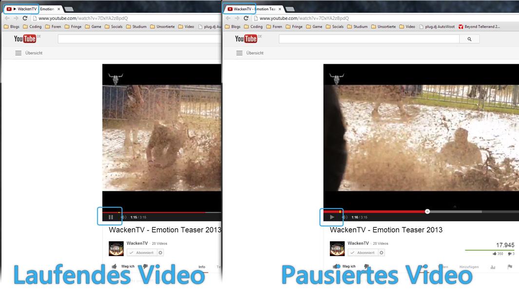 YouTube Play Button im Fenstertitel