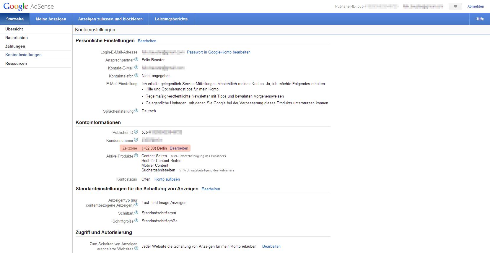 Google AdSense Zeitzone 1