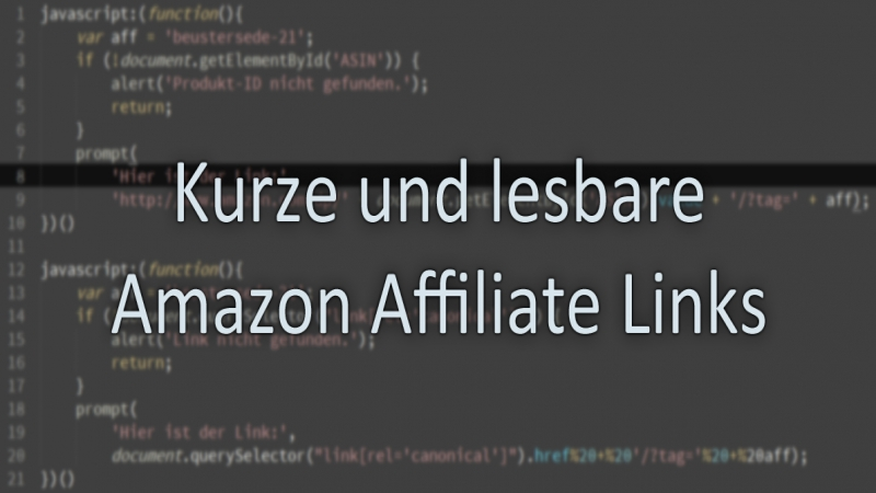 Kurze und lesbare Amazon Affiliate Links