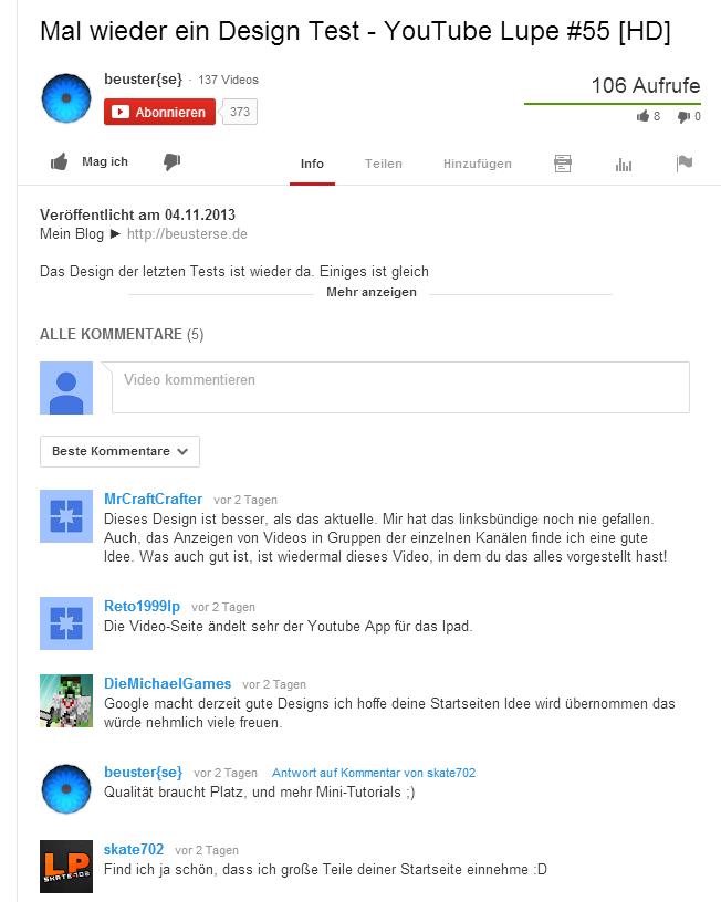 Neue Kommentare unter einem Video