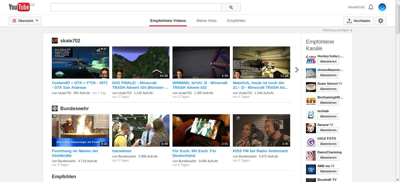 YouTube Startseite nach Anmeldung