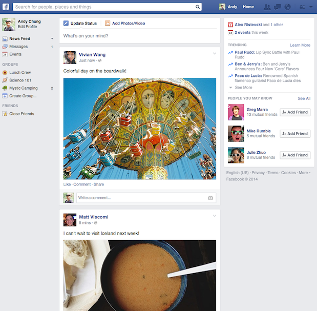 Neuer Newsfeed in Facebook